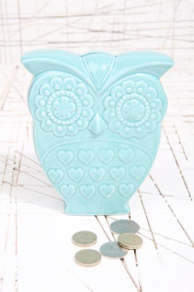 turquoise owl money bank