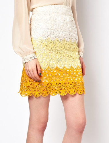 nishe pencil skirt in ombre lace
