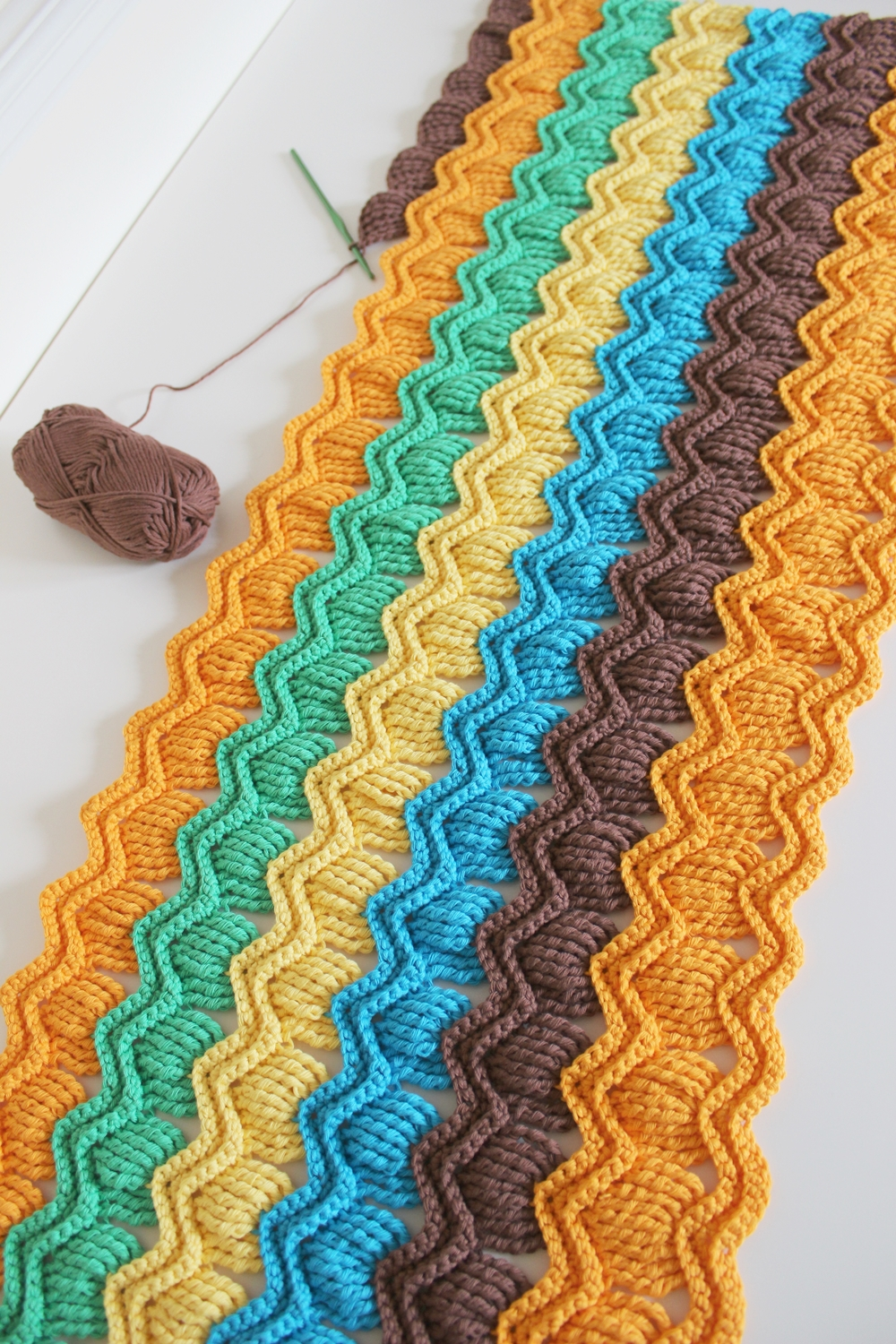 crochet fan ripple blanket