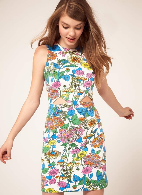 asos floral cut out dress