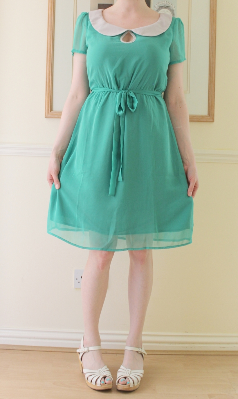 emerald peter pan collar dress