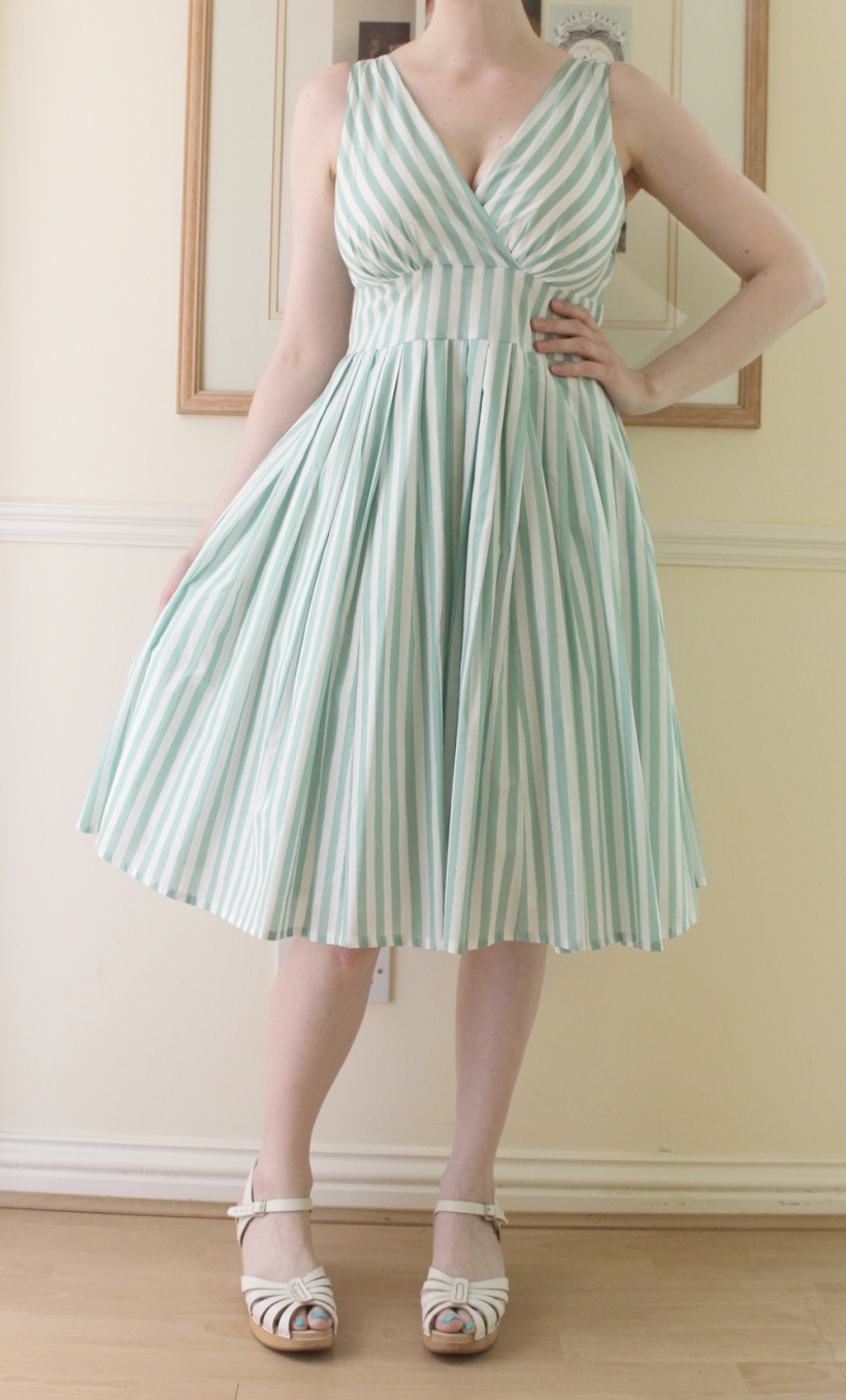 mint white stripe bombshell dress