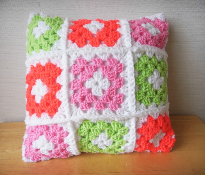 nana made granny square crochet cushion