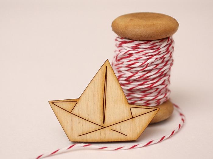 wooden origami boat brooch