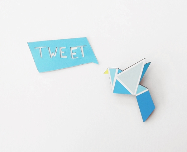 Blue Bird Geometric Brooch by Sketch Inc.