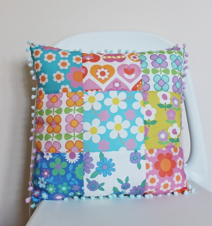 Chiaki Creates - Alice Apple fabric patchwork cushion 2