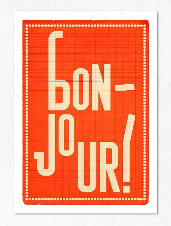 Orange Large Bonjour Print by Edubarba