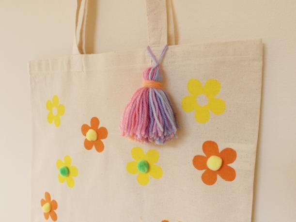 Hand-printed Retro Sixties Floral Pom Pom Tassel Tote Bag by Chiaki Creates chiakicreates.com