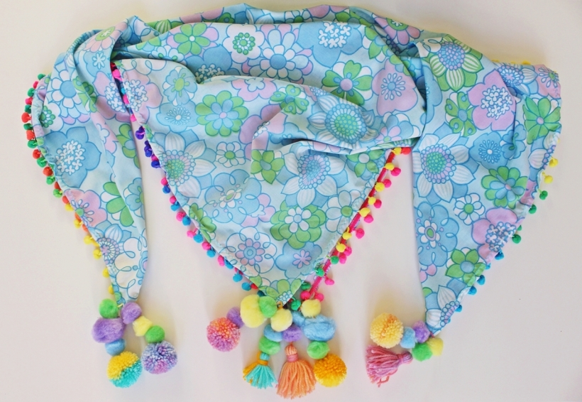 Sixties Vintage Fabric Bright Rainbow Pom-Pom Tassel Scarf by Chiaki Creates chiakicreates.com