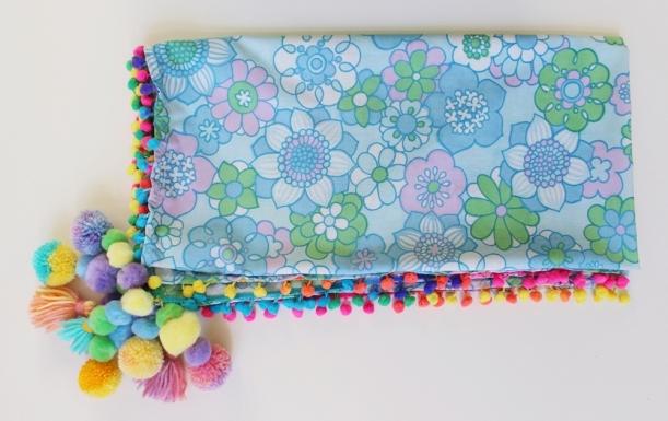 Sixties Vintage Fabric Bright Rainbow Pom-Pom Tassel Scarf by Chiaki Creates chiakicreates.com