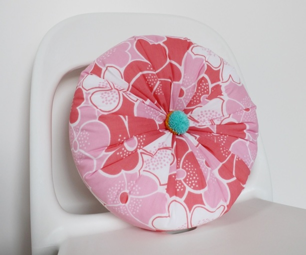 Round Floral Vintage Fabric Cushion by Chiaki Creates chiakicreates.etsy.com