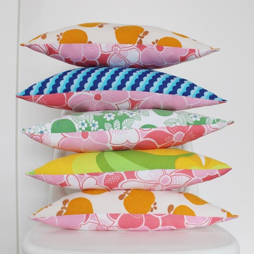 Triangular Vintage Fabric Cushions by Chiaki Creates chiakicreates.etsy.com